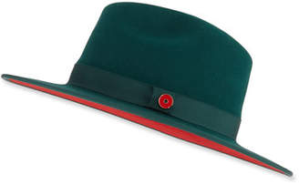 Keith and James Men's Queen Red-Brim Wool Fedora Hat, Green