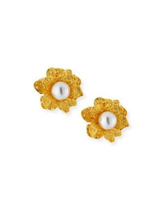 Kenneth Jay Lane Pearly Satin Flower Clip Earrings