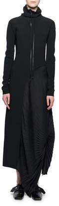 Victoria Beckham Mock-Neck Long-Sleeve Pleated-Side Long Dress