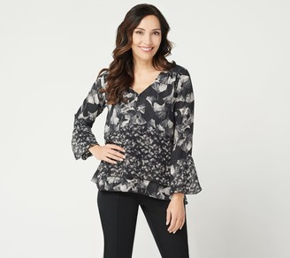 Image result for H by Halston Printed V-Neck Double Layer Flounce Top