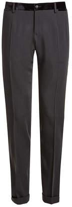 Dolce & Gabbana Wool Pants with Velvet Waistband