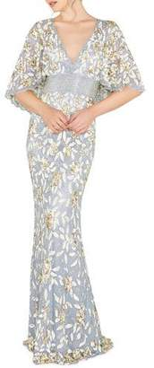 Mac Duggal V-Neck Floral Sequin Metallic Column Gown w/ Cape