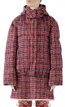 Gucci Tweed Hooded Puffer Jacket
