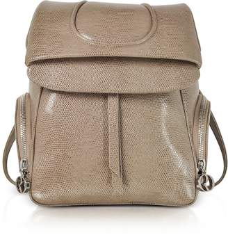 Rodo Taupe Lizard Embossed Leather Backpack