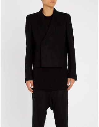 Rick Owens Cropped slim-fit camel and linen-blend jacket