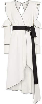 Self-Portrait - Cold-shoulder Wrap-effect Crepe Dress - White $320 thestylecure.com