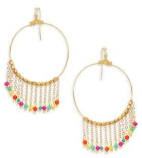 Panacea Goldplated Multi-Color Crystal Chain Tassel Hoop Earrings
