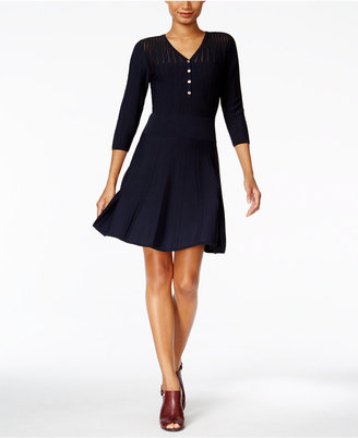 Tommy Hilfiger Illusion A-Line Sweater Dress $129 thestylecure.com