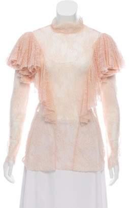 Philosophy di Alberta Ferretti Lace Long Sleeve Ruffle Accented Blouse