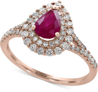 Effy Amore by Certified Ruby (3/4 ct. t.w.) and Diamond (1/2 ct. t.w.) Ring in 14k Rose Gold