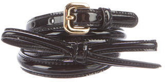 prada Prada Patent Leather Bow-Accented Belt