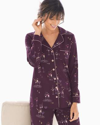 Embraceable Long Sleeve Notch Collar Pajama Top Party Drinks Bordeaux
