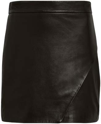 Intermix Michelle Mason Wrap Leather Mini Skirt