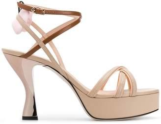 Fendi two tone strappy sandals