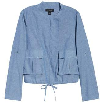 Halogen Linen Blend Chambray Tie Waist Jacket
