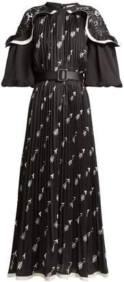 Self-Portrait Arrow-print pleated crepe midi dress