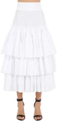 Dolce & Gabbana Ruffled Cotton Poplin Midi Skirt