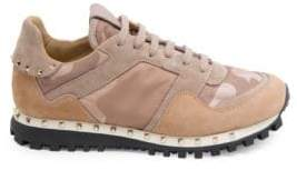Valentino Women's Studded Suede& Camo Sneakers