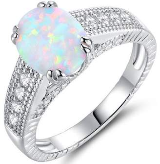 White Fire Peermont 2 Carat T.G.W. Opal 18kt White Gold-Plated Engagement Ring