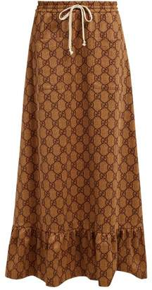 Gucci Gg Print High Rise Maxi Skirt - Womens - Beige Multi