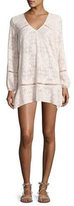 Red Carter Lorelei Embroidered Chiffon Tunic Dress, Light Pink $230 thestylecure.com