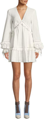 Jonathan Simkhai Embroidered Ruffle Long-Sleeve V-Neck Dress