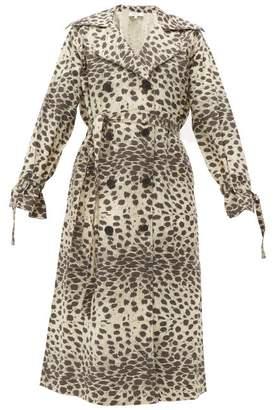 Sea Leo Leopard Print Cotton Trench Coat - Womens - Leopard