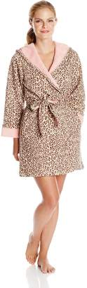 Casual Moments Women's Leopard Print Hooded Wrap Robe