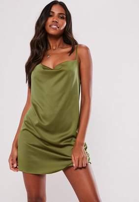 Missguided Khaki Satin Strappy Cowl Shift Dress 25b312a08
