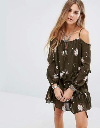 Glamorous Cold Shoulder Dress In Sparse Floral Print $49 thestylecure.com