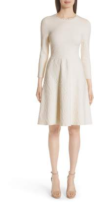 Lela Rose Matelasse Fit & Flare Dress