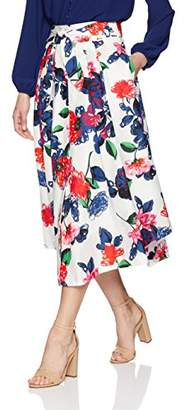 Milly Women's Floral Print on Cotton Fiona Midi Skirt with Front Buttons,2
