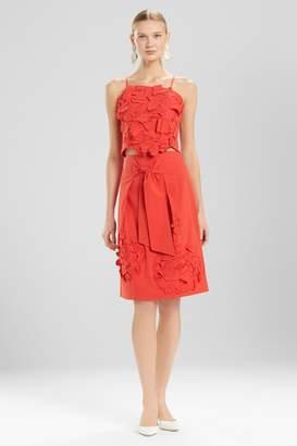 Josie Natori Cotton Poplin Skirt With Embroidery