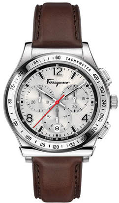 Salvatore Ferragamo Men's 1898 Chronograph Watch with Leather Strap, Silver/Brown