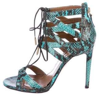Aquazzura Beverly Hills Snakeskin Sandals
