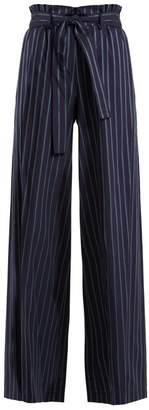 Osman Paloma Paperbag Waist Trousers - Womens - Navy Stripe