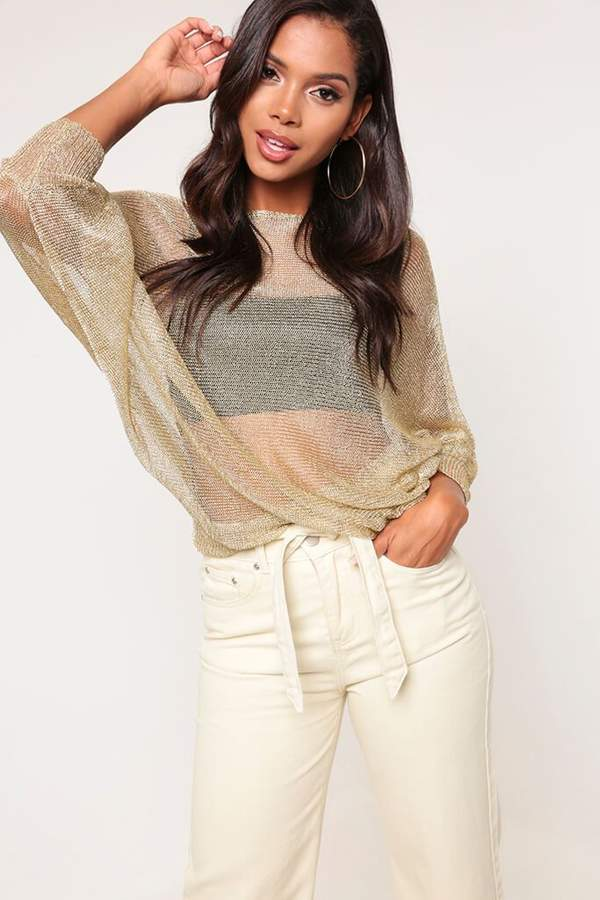 Isawitfirst Gold Metallic Knitted Jumper