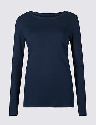 Marks and Spencer Pure Cotton Round Neck Long Sleeve T-Shirt