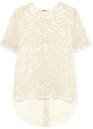 ADAM by Adam Lippes Open-back Sequined Georgette T-shirt - Ivory