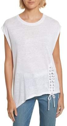 IRO Karami Linen Asymmetrical Lace-Up Top