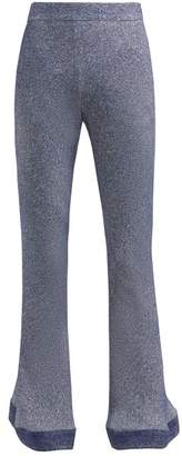 Chloé Denim Effect Kick Flare Crepe Trousers - Womens - Blue Multi