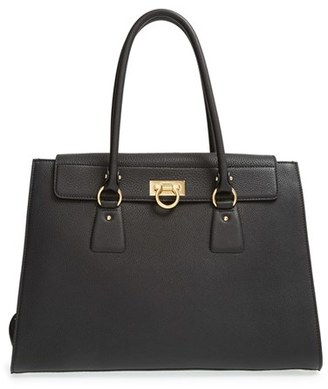 Salvatore Ferragamo Large Leather Tote - Black $2,250 thestylecure.com