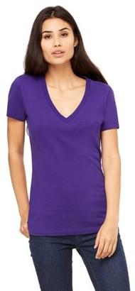 Clementine Apparel Women's Jersey Deep V-Neck Short Sleeve T-Shirt