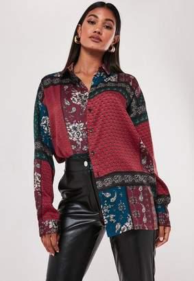 Missguided Burgundy Oversized Scarf Print Satin Shirt