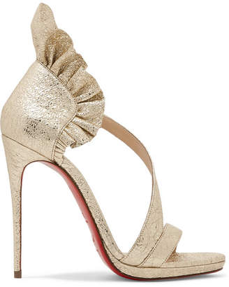 Christian Louboutin Colankle 120 Ruffled Metallic Cracked-leather Sandals - Gold