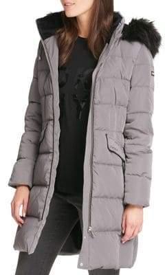 DKNY Faux Fur-Trimmed Down Parka