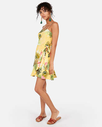 Express Floral Square Neck Wrap Front Cami Dress