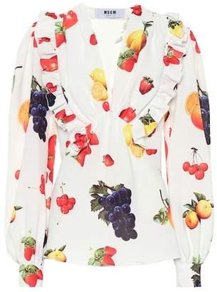 MSGM Printed crêpe blouse