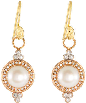 Jude Frances Provence Pearl Drop Earrings in 18K Rose Gold