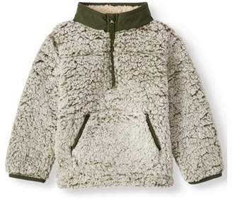 Wonder Nation Toddler Boy Mock Neck Quarter Zip Boucle Lined Sherpa Jacket